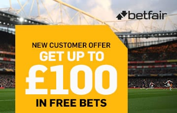 Betfair new customer up to £100 bonus bet offer
