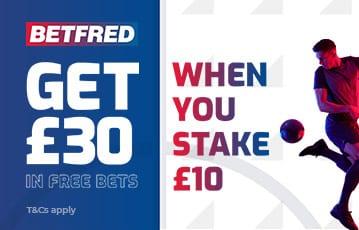 Betfred £30 bonus bet offer