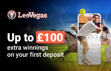 LeoVegas up to £100 extra winnings on 1st deposit offer