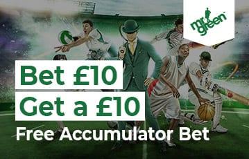 Mr Green £10 bonus accumulator bet offer