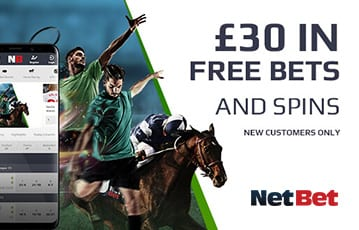 NetBet £30 bonus bets and spins new customer offer