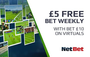 NetBet bet £10 on virtuals get bonus £5 bet weekly